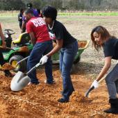 Gardening service project. Photo courtesy of The University of Southern Mississippi.